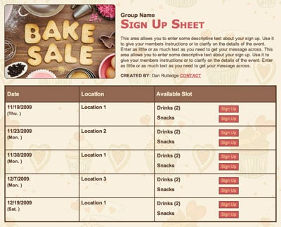 Bake Sale fundraiser volunteer sign up form