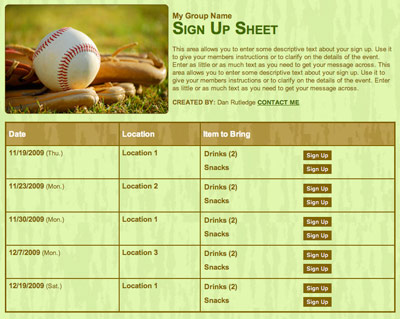 Baseball or little league online free volunteer scheduling