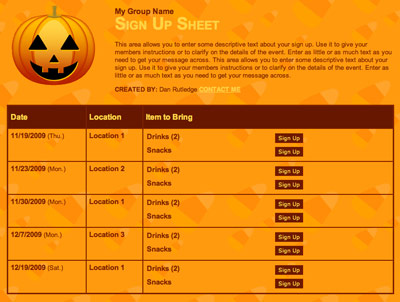 Halloween Party Sign up Sheet Party Volunteer Sign up
