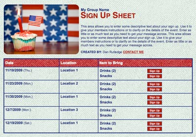 July 4th Independence day volunteer sign up