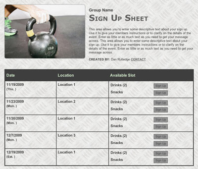 Crossfit exercise or personal trainer online registration sign up