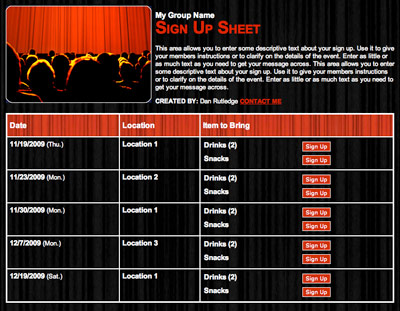 theatre play performance tickets volunteer sign up form